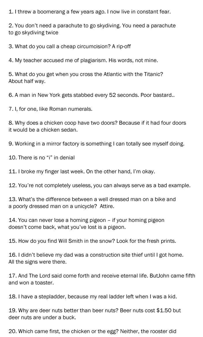 Image of: Witty 20 Great Oneliners Fatherly Advice And Rants 20 Great Oneliners Fatherly Advice And Rants